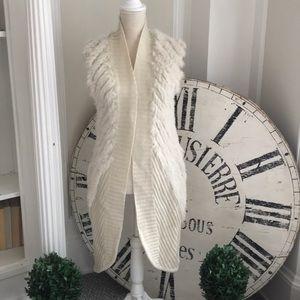 Wool / rabbit fur open long vest